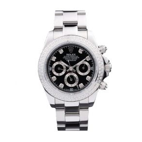 Rolex Daytona Diamond Bezel Black Dial Women 40mm Automatic Watch